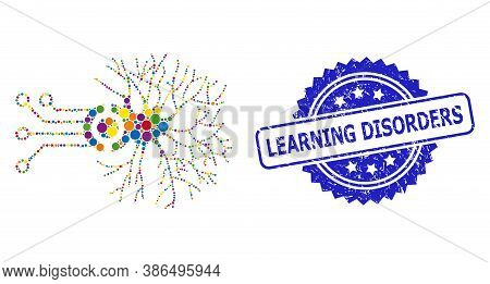 Multicolored Mosaic Digital Neural Connection, And Learning Disorders Rubber Rosette Seal Print. Blu