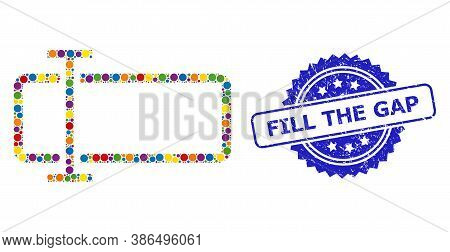 Colorful Mosaic Text Field, And Fill The Gap Scratched Rosette Stamp Seal. Blue Seal Includes Fill T