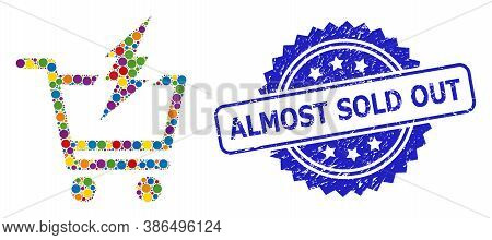 Bright Colored Mosaic Proceed Purchase, And Almost Sold Out Rubber Rosette Stamp Seal. Blue Stamp Se