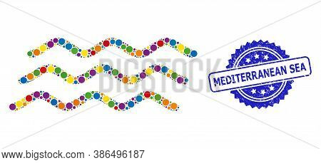 Colored Mosaic Water Waves, And Mediterranean Sea Scratched Rosette Seal Imitation. Blue Seal Contai