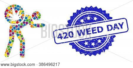 Vibrant Collage Cannabis Courier, And 420 Weed Day Unclean Rosette Stamp Seal. Blue Stamp Has 420 We
