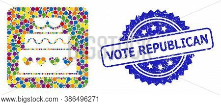 Colored Mosaic Marriage Cake, And Vote Republican Grunge Rosette Seal Print. Blue Stamp Seal Contain