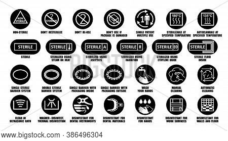 Full Vector Package Collection Of Disinfectant Symbols For Medical Device, Equipment, Instruments, M