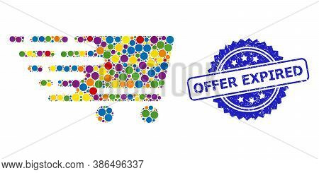 Colorful Collage Shopping Cart, And Offer Expired Unclean Rosette Stamp Seal. Blue Stamp Seal Includ