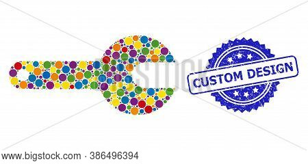 Multicolored Mosaic Spanner Tool, And Custom Design Scratched Rosette Stamp Seal. Blue Stamp Seal Ha