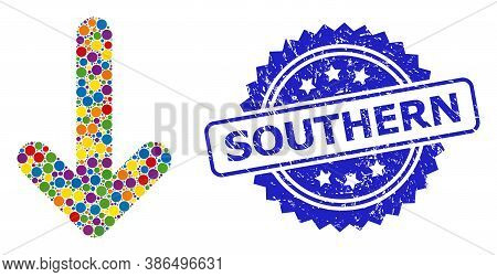 Multicolored Mosaic Down Arrow, And Southern Grunge Rosette Stamp. Blue Stamp Seal Contains Southern