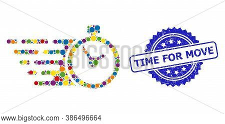 Colored Mosaic Time, And Time For Move Grunge Rosette Stamp Seal. Blue Stamp Seal Contains Time For