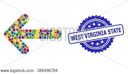 Multicolored Collage Left Arrow, And West Virginia State Grunge Rosette Stamp. Blue Stamp Seal Inclu