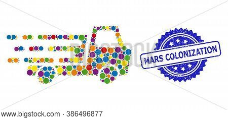 Bright Colored Collage Delivery Car Chassi, And Mars Colonization Grunge Rosette Stamp Seal. Blue St
