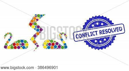 Bright Colored Mosaic Divorce Swans, And Conflict Resolved Rubber Rosette Stamp. Blue Stamp Contains