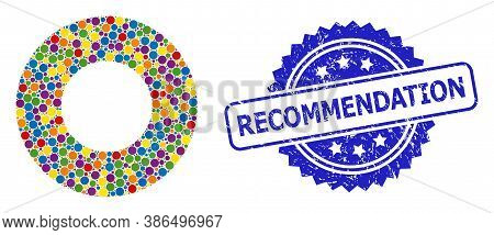 Bright Colored Collage Donut, And Recommendation Scratched Rosette Seal Imitation. Blue Stamp Seal H