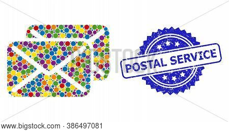 Colorful Mosaic Letters, And Postal Service Grunge Rosette Stamp. Blue Stamp Seal Has Postal Service