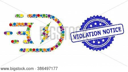 Colorful Mosaic Electric Power, And Violation Notice Unclean Rosette Stamp. Blue Stamp Seal Contains