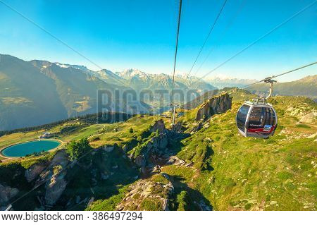 Eggishorn, Switzerland - August 7, 2020: Cable Car Aerial View To Great Aletsch Glacier In The Alps