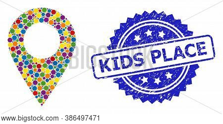 Multicolored Collage Map Marker, And Kids Place Corroded Rosette Stamp Seal. Blue Stamp Seal Contain