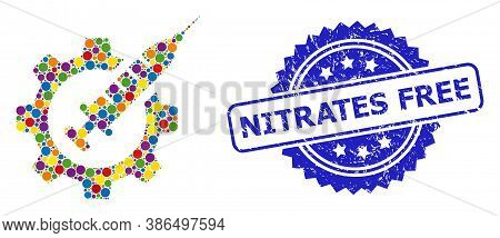Vibrant Collage Vaccine Industry, And Nitrates Free Rubber Rosette Stamp Seal. Blue Stamp Seal Has N