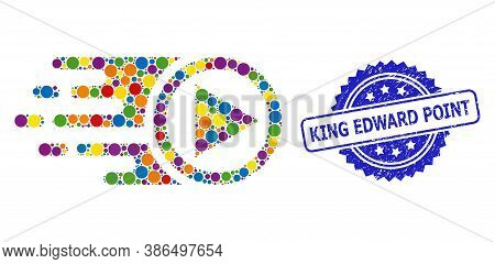 Multicolored Mosaic Move Right, And King Edward Point Grunge Rosette Seal Imitation. Blue Stamp Seal