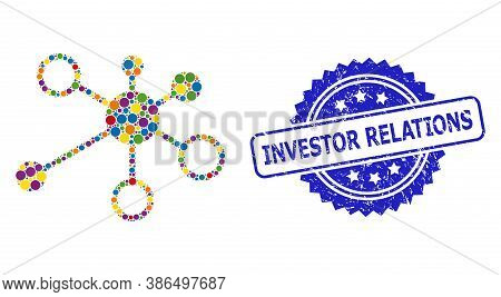 Bright Colored Collage Relations, And Investor Relations Unclean Rosette Seal. Blue Seal Includes In