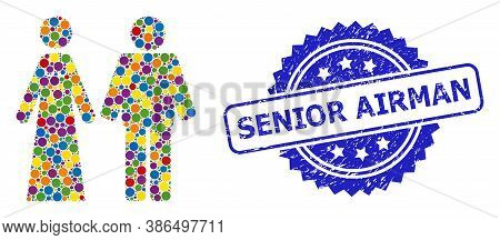Colored Mosaic Married Groom And Bribe, And Senior Airman Rubber Rosette Stamp. Blue Stamp Contains
