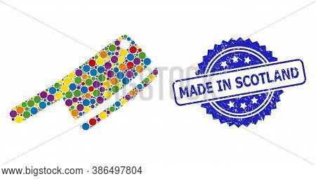 Vibrant Collage Butchery Knife, And Made In Scotland Textured Rosette Stamp. Blue Stamp Contains Mad