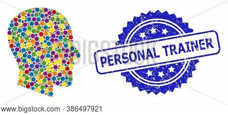 Vibrant Collage Gentleman Profile, And Personal Trainer Unclean Rosette Stamp Seal. Blue Stamp Seal