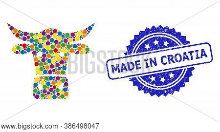 Colorful Mosaic Cow Head, And Made In Croatia Rubber Rosette Stamp. Blue Stamp Includes Made In Croa