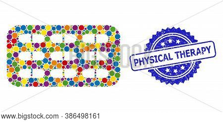 Bright Colored Collage Pill Blister, And Physical Therapy Rubber Rosette Stamp. Blue Stamp Includes