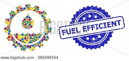 Multicolored Collage Water Service, And Fuel Efficient Scratched Rosette Stamp Seal. Blue Stamp Seal