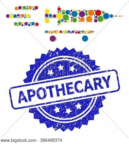 Multicolored Collage Vaccine Delivery, And Apothecary Grunge Rosette Seal Imitation. Blue Stamp Seal