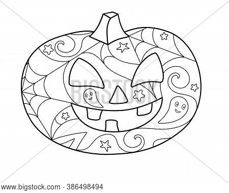 Halloween Pumpkin - Nantistress Coloring - Vector Linear Picture For Coloring. Pumpkin With Carved F