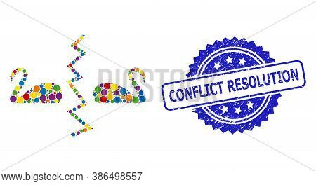 Bright Colored Collage Divorce Swans, And Conflict Resolution Textured Rosette Seal Print. Blue Seal