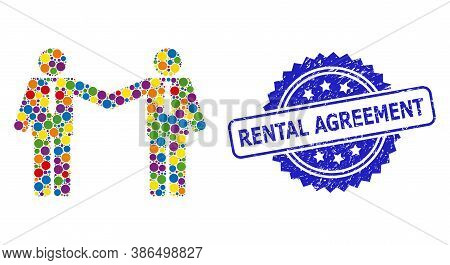 Vibrant Mosaic Businessmen Relations, And Rental Agreement Rubber Rosette Stamp Seal. Blue Stamp Sea
