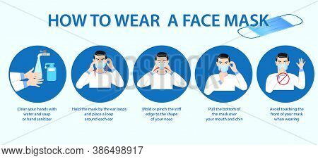 Set Of How To Wear Medical Mask Or How To Wear And Remove Medical Or Tips Wearing Protective Medical