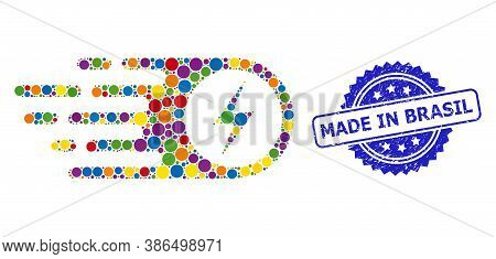 Vibrant Collage Electrical Strike, And Made In Brasil Dirty Rosette Stamp Seal. Blue Stamp Seal Has