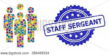 Colorful Mosaic Staff, And Staff Sergeant Unclean Rosette Stamp Seal. Blue Stamp Seal Includes Staff