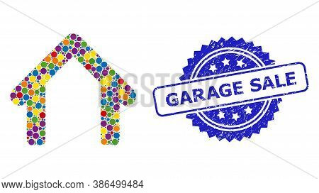 Colored Mosaic Garage, And Garage Sale Scratched Rosette Seal Print. Blue Seal Includes Garage Sale