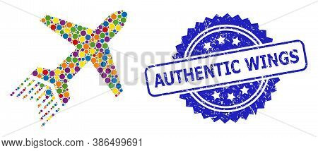 Multicolored Mosaic Jet Liner, And Authentic Wings Grunge Rosette Seal Imitation. Blue Seal Has Auth