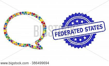 Multicolored Mosaic Message Cloud, And Federated States Rubber Rosette Seal. Blue Seal Contains Fede
