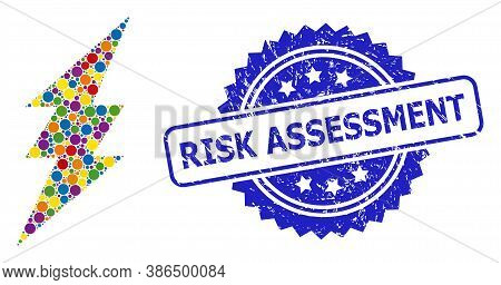 Vibrant Collage Electric Spark, And Risk Assessment Unclean Rosette Stamp Seal. Blue Stamp Seal Has
