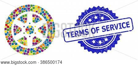 Multicolored Collage Car Wheel, And Terms Of Service Corroded Rosette Seal Print. Blue Stamp Seal Co