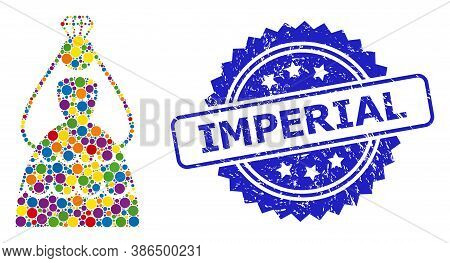 Colored Collage Crowned Bride, And Imperial Dirty Rosette Stamp Seal. Blue Seal Has Imperial Title I