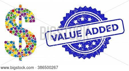 Colorful Collage Dollar Symbol, And Value Added Rubber Rosette Seal Imitation. Blue Seal Includes Va
