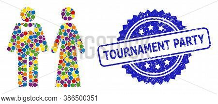 Multicolored Collage Just Married Persons, And Tournament Party Grunge Rosette Seal. Blue Seal Has T