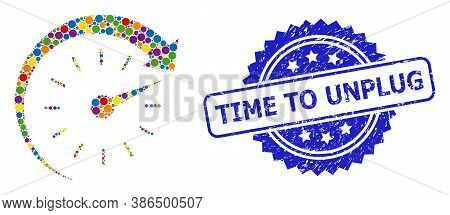 Vibrant Collage Time Forward, And Time To Unplug Textured Rosette Watermark. Blue Seal Includes Time
