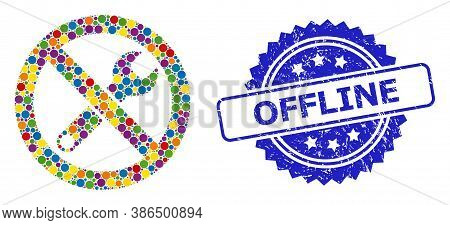 Multicolored Mosaic Forbidden Repair, And Offline Textured Rosette Stamp Seal. Blue Stamp Includes O