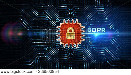 Business, Technology, Internet And Network Concept. Gdpr General Data Protection Regulation. 3d Illu