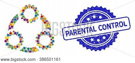Multicolored Collage Gear Planetary Transmission, And Parental Control Rubber Rosette Stamp Seal. Bl