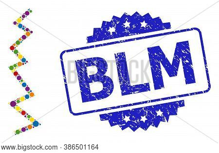 Bright Colored Mosaic Zigzag Line, And Black Lives Matter Dirty Rosette Stamp Seal. Blue Stamp Seal