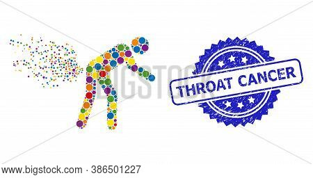 Bright Colored Collage Farting Person, And Throat Cancer Textured Rosette Stamp Seal. Blue Seal Has