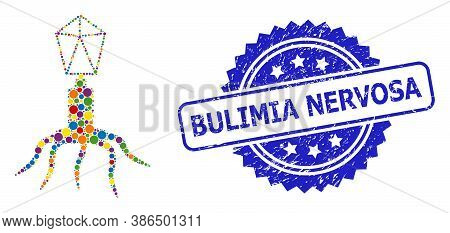 Colored Mosaic Virus, And Bulimia Nervosa Dirty Rosette Stamp Seal. Blue Stamp Includes Bulimia Nerv
